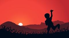 Bocah Dolan (wawwaz) Tags: inkscape illustration ilustrasi kid anak sunrise siluet silhouette nature alam free bebas lari run