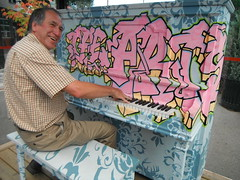 Gilles ... (Mr. Happy Face - Peace :)) Tags: flickrfriends music piano bench hss smiley art2018 funpic yyc streetscape albertabound gillesallard 7dwf keyboard happy joy communty metis firstnation friends expression portrait moments joyful happiness singsong goodtimes fun play flickrfriday