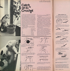 "Catch on to Crochet: 1975 DIY ""Craft of the Month,"" Crochet Small Stuffed Toy Animals (classic_film) Tags: 1975 1970s diy magazine crochet vintage retro seventies craft nostalgic nostalgia old oll alt añejo american america revista época ephemeral home usa unitedstates anuncio anzeige toy animal"