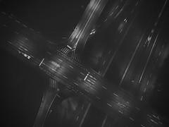Crossing (akarakoc) Tags: blackandwhite mavicpro dji crossing streets bridge night car vehicle lights