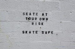 Skate at Your Own Risk (Restless Eye) Tags: southknoxville tennessee usa stencil concrete block sign safe risk skate inline rink abandoned