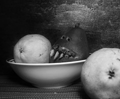Scare Pear (Twila1313) Tags: pears stilllife pear monster fangs teeth scary creepy fruit bizarre monochrome blackandwhite panasonicgf1 panasonic20mm17