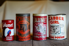 Items from yesteryear - Old baking powder tins. (DT's Photo Site - Anderson S.C.) Tags: canon 6d sigma 50mm14 art lens vintage calumet baking cooking powder flour kitchen antique tins containers old classic southernlife 1940s depression years store merchandise goods