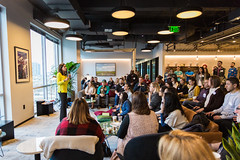 CreativeMornings/DAL/Nicole Payseur (creativemorningsdallas) Tags: breakfast creative dallas event morning mornings texas coworking downtown interior people speaker