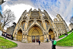 Westminster Abbey (Geoff Henson) Tags: westminster abbey church cathedral building architecture masonry fisheye tourists clouds trees grass sky path door entrance towers buttresses 1000v40f