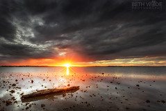 The Old Piece of Wood (Beth Wode Photography) Tags: sunset sundown cloudysunset lowtide reflections wood timber oldpieceofwood wellingtonpoint redlands graysunset beth wode bethwode