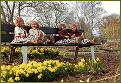 Kindergartenkinder ... so ein schöner Tag ... (Kindergartenkinder) Tags: kindergartenkinder annette himstedt dolls sanrike tivi gruga grugapark essen blume annemoni milina garten osterglocken