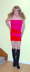 Red and pink sheath- with black boots! (donnacd) Tags: sissy tgirl tgurl dressing crossdress crossdresser cd travesti transgenre xdresser crossdressing feminization tranny tv ts feminized domina donna touchy feely he she look 易装癖 シーメー mosaic