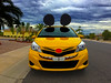 Oh No, There Goes Tokyo (oybay©) Tags: toyota toyotaprius prius car automobile auto yellow mouse ears decorated yellowcar arizona hurricanenewton hurricane newton unusual suncitywest animated trulynolan amazing color colorful colors whiskers america outdoor