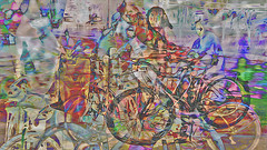 Bildschichten Rad Nudisten 30 (wos---art) Tags: bildschichten rad räder bycicle radfahrer unfall schrott radwandern gruppe