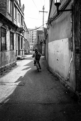 The way back (Go-tea 郭天) Tags: yantai hutong old ancient traditional tradition history historical historic day winter cold sun sunny shadow narrow alley bicycle bike ride riding movement alone lonely back backside backpack cap lady young candid street urban city outside outdoor people bw bnw black white blackwhite blackandwhite monochrome naturallight natural light asia asian china chinese shandong canon eos 100d 24mm prime houses construction buildings electric electricity lines cables