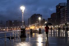 Lluvia en el paseo. Gijón. (David A.L.) Tags: asturias asturies gijón lluvia paseo paseodelmuro sanlorenzo luces farola