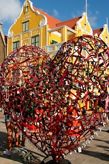 Did you lock your heart to your VALENTINE (Prayitno / Thank you for (12 millions +) view) Tags: konomark happy vallentine day red heart yellow building time outdoor colorful multi color sunny blue sky lock keys lovers symbol