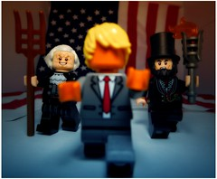 President's Day no text (LegoKlyph) Tags: lego presidents day art political trump lincoln washington holiday flag history funny brick block mini figure orange