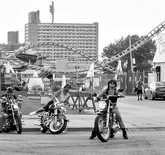 Ride (Demmer S) Tags: eyecontact candideyecontact bikes people street streetphotography peoplewatching shootthestreet streetlife streetshots documentary candid candidstreet citylife person urban motorcycles bike outdoors ride motorcycle amusementpark rollercoaster rides beachfront seaside playground outside city coneyisland brooklyn ny newyork nyc newyorkcity staredown whatareyoudoing men guys bikers sunglasses helmet headgear road bw monochrome blackwhite blackandwhite blackwhitephotos blackwhitephoto