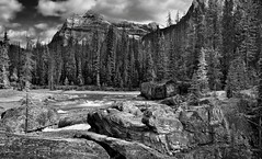 A Mountain Backdrop for Natural Bridge (Black & White, Yoho National Park)