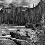 A Mountain Backdrop for Natural Bridge (Black & White, Yoho National Park) thumbnail