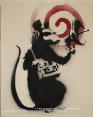 Radar Rat (Sonic Rat). 2004. Rats are recurring theme among Banksy's works. He was inspired by Parisian artist Blek Le Rat, who painted at the streets of Paris in 1980s. Many of his works featured similar rats. (softferncom) Tags: auckland banksy sergiybondar theartofbanksyexhibition girlandballoon laughnow girlwithredballoon happychopper pulpfiction trolleyhunters rudecopper katemoss flag loveisintheair stevelazarides famousgraffiti banksy'siconicworks
