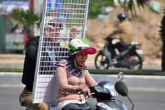 No way out (Roving I) Tags: hangingon screens wire transport logistics helmets sunhats gloves womendrivers street danang vietnam