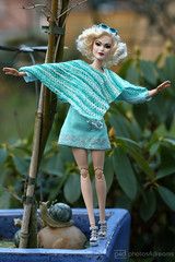 balancing act (photos4dreams) Tags: dress barbie mattel doll toy photos4dreams p4d photos4dreamz barbies girl play fashion fashionistas outfit kleider mode puppenstube tabletopphotography helenabonhamcarter ooak oneofakind upgrade dolldesigner design custom repaint poncho crochet chrocheted