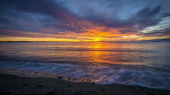 It pays to get up early! (Paul Rioux) Tags: beach waterfront sea ocean seascape seashore seaside waves rocks stones morning sunrise clouds calm water reflection prioux esquimaltlagoon