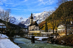 St. Sebastian Chapel, (I) (louelke - on and off) Tags: chapel ramsau germany stsebastian bavaria mountains alps river famous scenic