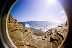 Oahu Soup Bowl (mmockingbird) Tags: oahu cliff jumping ocan sea summer rock rocky outcrop fish eye fisheye lens film