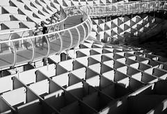 (cherco) Tags: sevilla boy man young square cuadrado bridge pasarela blackandwhite blancoynegro shadow shadows lonely solitario solitary composition composicion canon 5d urban urbano repetition repeticion diagonal geometrico geometric arquitectura modern escultura mirador