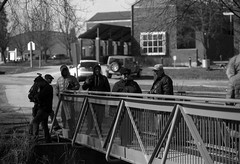 Gather on the Bridge (Alex Luyckx) Tags: unionville ontario canada urban downtown historicdowntown historic markham people portrait random street streetphotography photographers spontanious casual tfsm tfs torontofilmshooters torontofilmshootersmeetup meetup gathering social