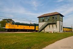 Bi-Levels at Spaulding Tower (tim_1522) Tags: railroad railfanning rail illinois il illinoisrailwaymuseum irm union chicagonorthwestern cnw f7 bilevels spauldingtower emd