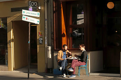 Quai de Jemmapes - Paris (France) (Meteorry) Tags: europe france idf îledefrance paris parispeople candid street rue streetscene quaidejemmapes men boys guys male twostories terrasse terrace restaurant sign morning matin sneakers trainers mates friends amis october 2017 meteorry