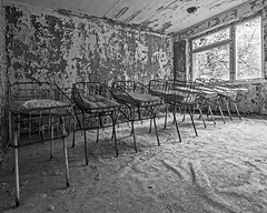 Maternity Ward at Pripyat Hospital - Chernobyl (Craig Hannah) Tags: prypyat hospital maternityward beds cots children chernobyl zoneofalienation exclusionzone disaster abandoned derelict decay derelectbuilding ukraine radioactivecontamination radiation bw craighannah september 2017 nucleardisaster chernobylnuclearpowerstation
