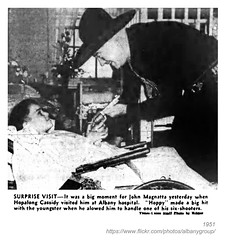 1951 Hoppy visits ailing youngster (albany group archive) Tags: albany ny history 1951 hopalong cassidy hospital visits ailing youngster john magnatta six shooter 1950s old vintage photograph historical historic picture photo