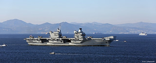 Royal Navy Aircraft Carrier HMS Queen Elizabeth (R08) sailing into the Bay of Gibraltar