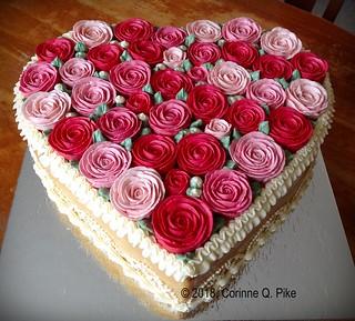 Heart-shaped caramel cake