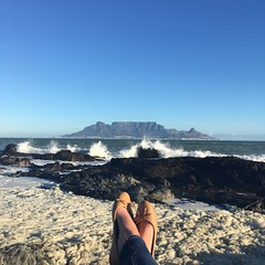 My old favourite reading spot (rjmiller1807) Tags: tablemountain capetown southafrica westerncape sea ocean bay tablebay waves foam shoes pumps view sky blue 2017 iphone iphonography iphonese