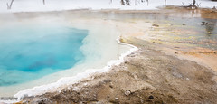 The Dividing Line (maureen.elliott) Tags: colours patterns winter yellowstonepark water steam geysers hotsprings pools nature landscape wyoming