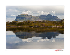 Suilvel Reflected163a [Explored] (The Terry Eve Archive) Tags: suilven canoe fionnloch inverpollynaturereserve reflection calm loch water