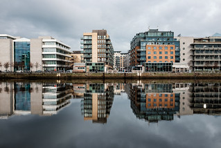 Dublin reflected into the river