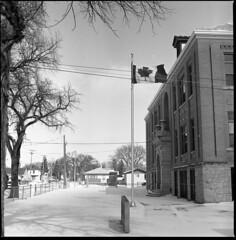 oh Canada (MarekSokal) Tags: mareksokal hasselblad 500cm ilford fp4 rodinal homedeveloped winnipeg winter canada flag school snow