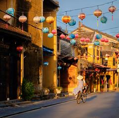 Early Morning, Hoi An style (ajecaldwell11) Tags: lanterns bicycle sunrise ankh sky dawn light buildings vietnam xe2 caldwell fujifilm hoian