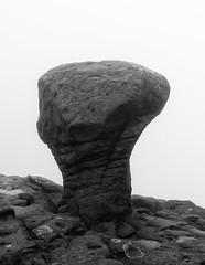 Anvil Stone (l4ts) Tags: landscape derbyshire peakdistrict darkpeak edale grindsbrook anvilstone kinderscout gritstonetor gritstone fog lowcloud blackwhite monochrome