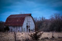 Still looking good. (Browtine1) Tags: 70200 5d canon miamicounty kansas sky fence field blue rural abandoned farm barn