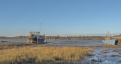 Waiting for the tide (David Feuerhelm) Tags: nikkor river riverorwell pinmill suffolk reeds estuary wideangle panorama boats blue landscape coast colorefex nikon d750 1635mmf4