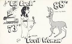 Lil Buck & Devil Woman - Springfield, Oregon (73sand88s by Cardboard America) Tags: qsl cb cbradio vintage qslcard deer oregon devil