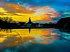Blue sunset in reflection (A. Yousuf Kurniawan) Tags: blue sky sunset cloud reflection refraction landscape cityscape scenery giessen sun silhoutte twilight city hdr cameraphone