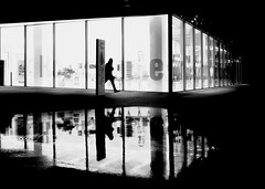 in the mirror (René Mollet) Tags: misty mirror nightshot night nightwalker puddle backlight blackandwhite bw basel renémollet street streetphotography shadow silhouette streetart streetphotographiebw
