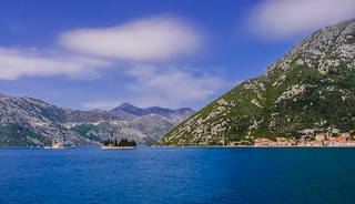 The islands of Gospa od Škrpjela and Sveti Đorđe, and Perast, Bay of Kotor, Montenegro