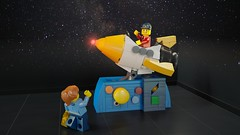 [MOC] To Space and Back for 50 Cents! (Bert.VR) Tags: lego moc bricks rocket space ship kiddie ride kid child coin mother mom sun planets solarsystem attraction rocking mechanism technic momentsinspace contest competition render blender cycles ldd ldraw ldcad cgi