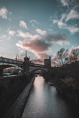 Manchester Canals (aris.sfakianos) Tags: manchester europe uk england light sky clouds sunset cloudscape skyscape bridge lines straight river canal blue green walk afternoon